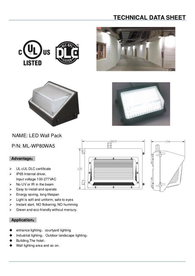 Mastled Dlc Ul 80w Led Wall Pack Light
