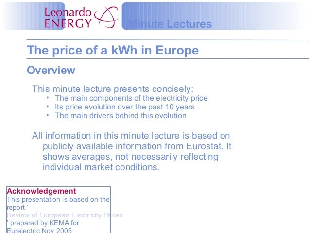 The price of a kWh in Europe Minute Lectures Overview This minute lecture presents concisely: • The main components of the...