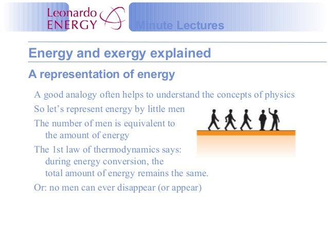 Energy and exergy explainedMinute LecturesA representation of energyA good analogy often helps to understand the concepts ...