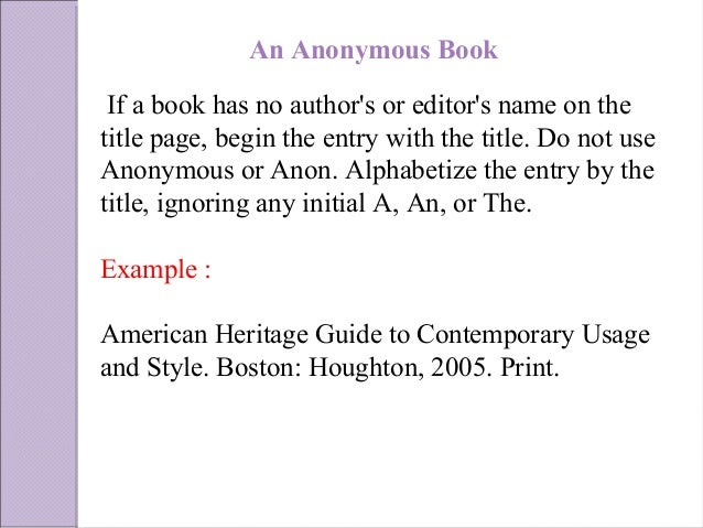 mla format for citing books The publication information as you would cite a comparable print work,  here  is an example.