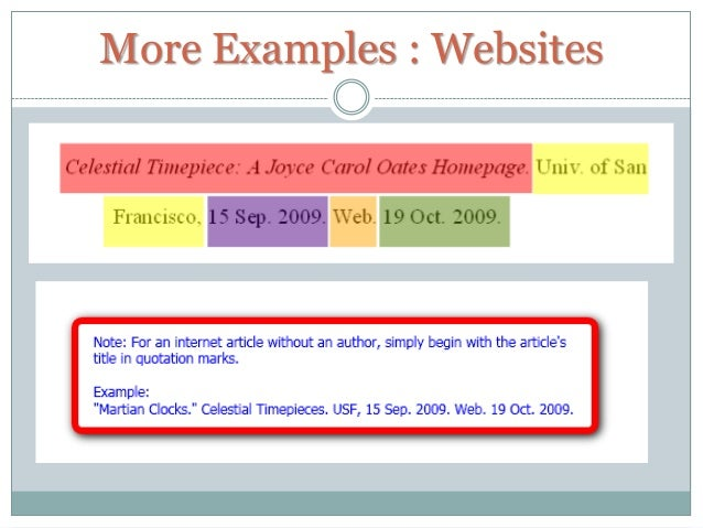 mla citation example website
