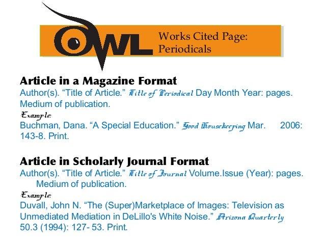 mla format citation article