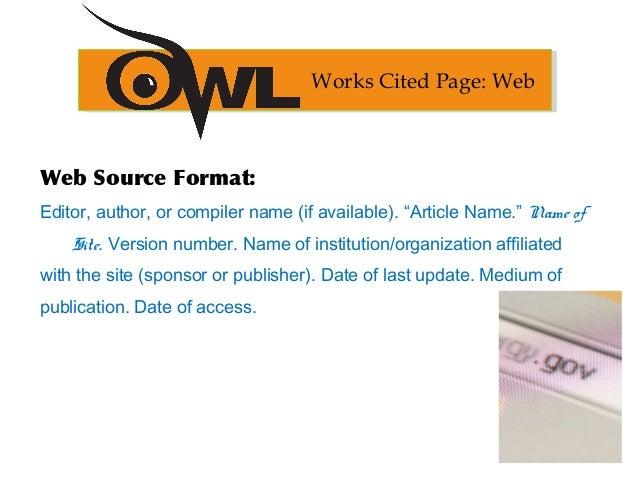 mla website formatting