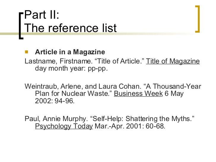 mla citations magazine