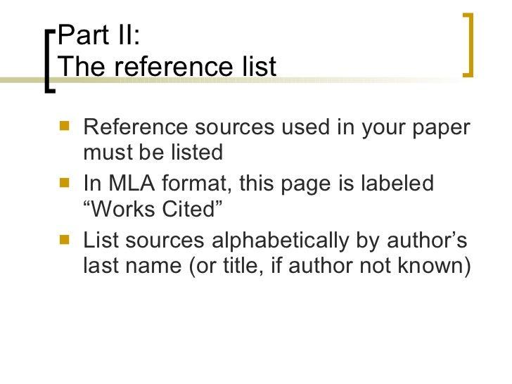 work cited list format