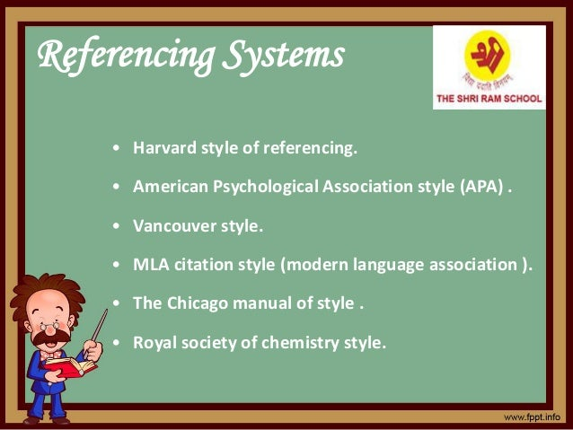 Referencing Systems • Harvard style of referencing. • American Psychological Association style (APA) . • Vancouver style. ...