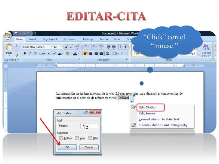 """EDITAR-CITA<br />""""Click"""" con el """"mouse.""""<br />15<br />"""