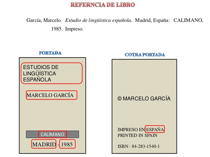 REFERNCIA DE LIBRO<br />García, Marcelo. <br />Estudio de lingüística española.<br />Madrid, España: <br />CALIMANO,<br />...