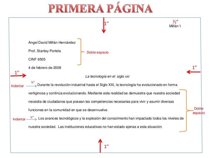 "PRIMERA PÁGINA<br />½""<br />1""<br />Millán 1<br />Angel David Millán Hernández<br />Prof. Stanley Portela<br />CINF 6505<b..."