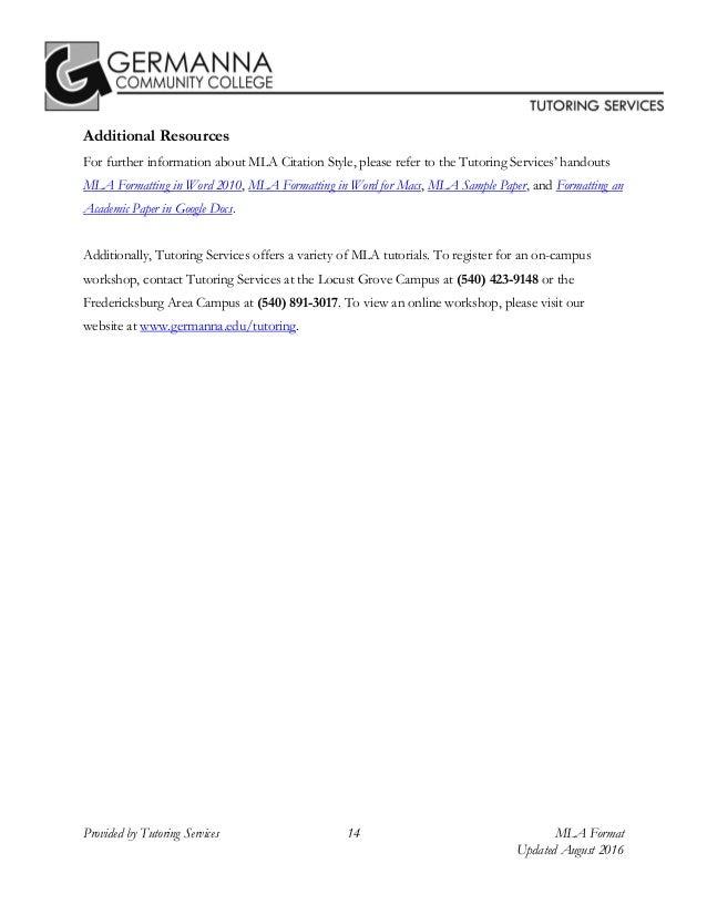 mla 8th edition citation format by germanna community