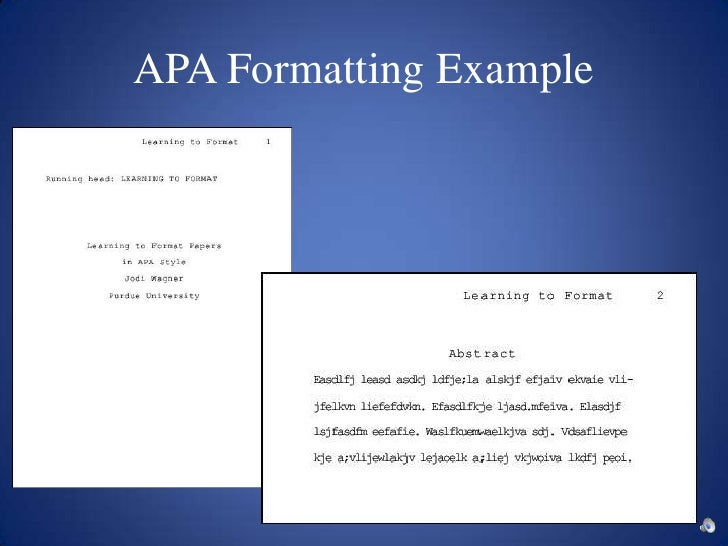formatting a research paper apa