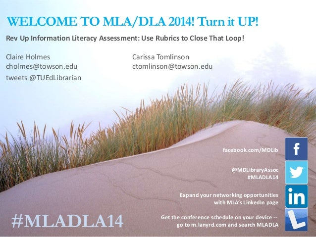 WELCOME TO MLA/DLA 2014! Turn it UP! Expand your networking opportunities with MLA's LinkedIn page Rev Up Information Lite...