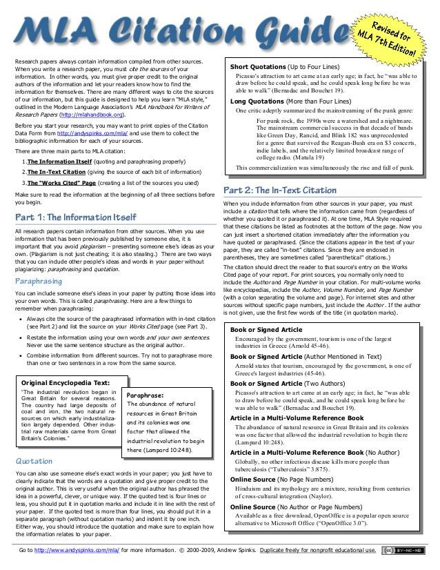 Go to http://www.andyspinks.com/mla/ for more information. © 2000-2009, Andrew Spinks. Duplicate freely for nonprofit educ...