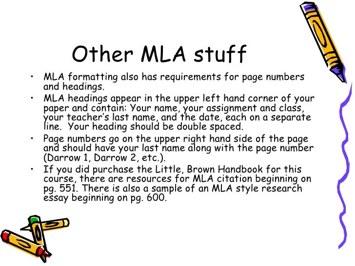 mla format requirements list