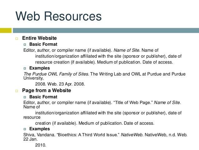 website mla citation format