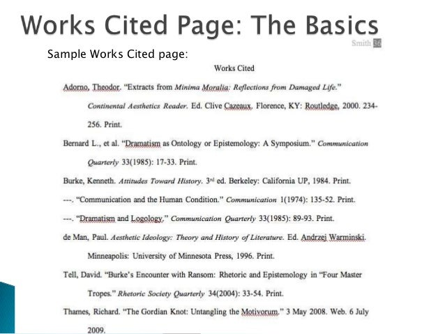 works cited page in mla
