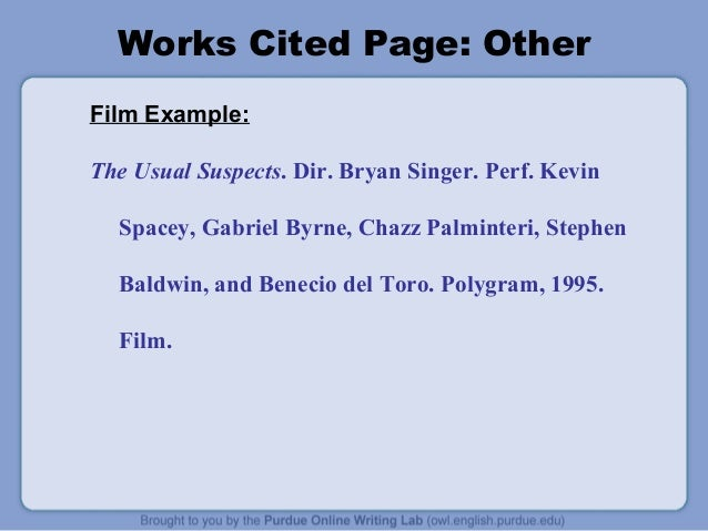 mla work cited page example