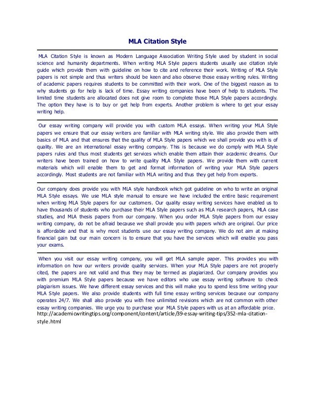 MLA Citation Style MLA Citation Style is known as Modern Language Association Writing Style used by student in social scie...