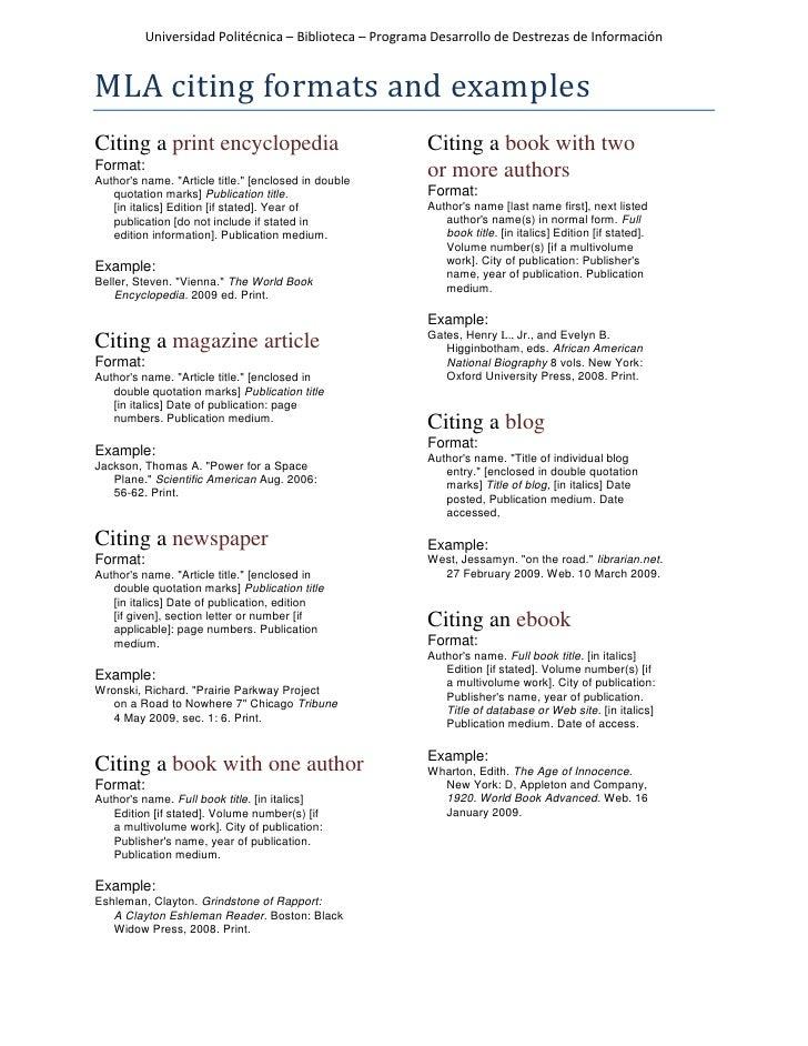 mla citation format example