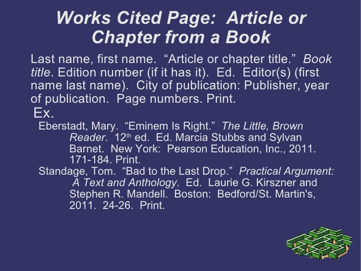 Mla format works cited page ccuart
