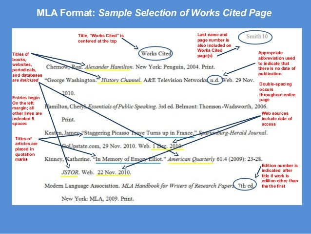 Mla format fye mla format sample selection of works cited page ccuart Images