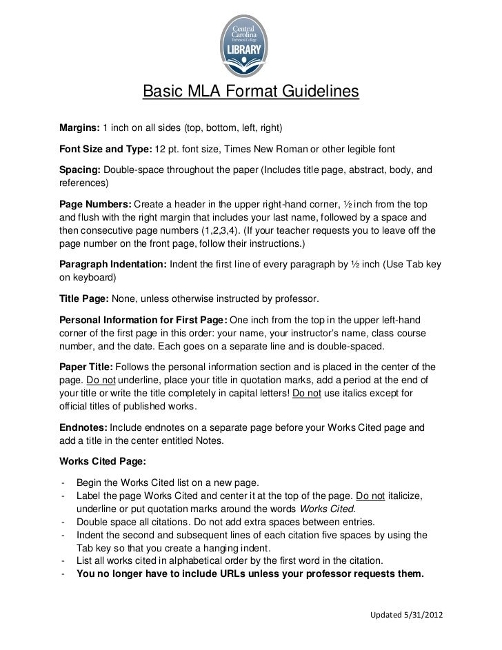 Mla forms of writing