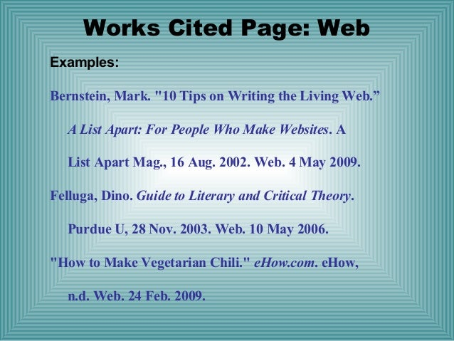 works cited page mla websites