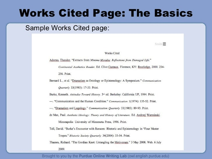 mla format ppt works cited page the basics sample works cited page