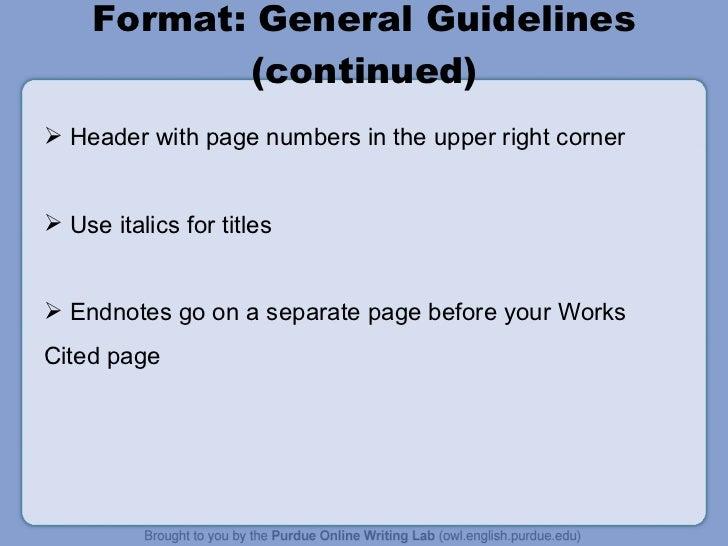 mla format in powerpoint