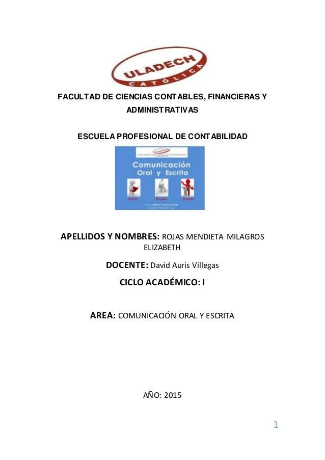 1 FACULTAD DE CIENCIAS CONTABLES, FINANCIERAS Y ADMINISTRATIVAS ESCUELA PROFESIONAL DE CONTABILIDAD APELLIDOS Y NOMBRES: R...