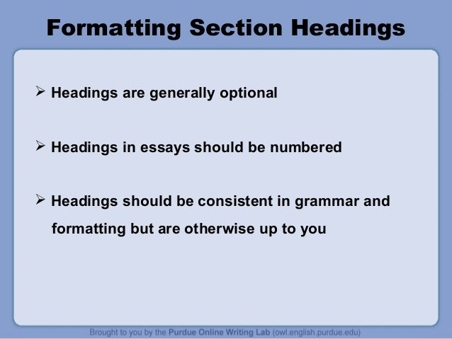 mla format section headings Formatting your mla paper in microsoft word 2007 back to section 2 formatting your paper heading and title.