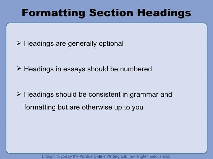headings in mla format