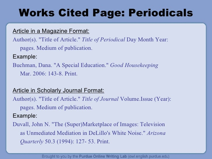 work cited page mla example