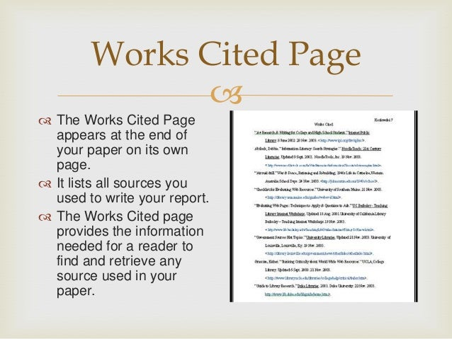 Homework help work cited pages