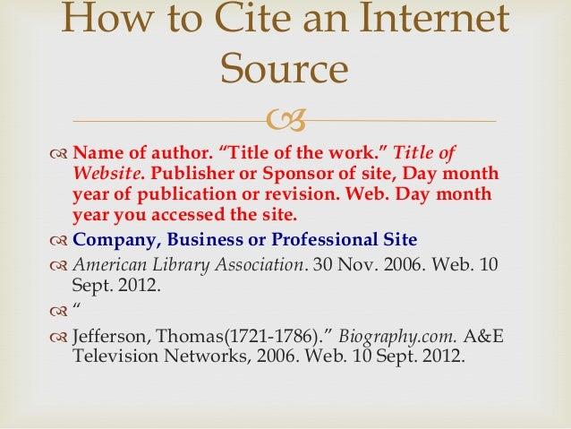 mla format for internet sources