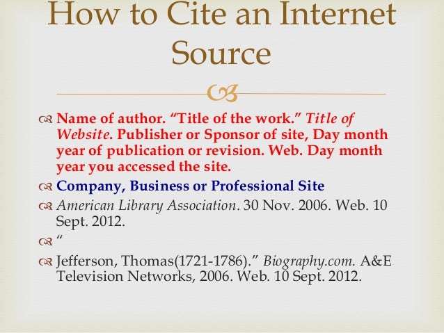 How to Cite an Internet Source