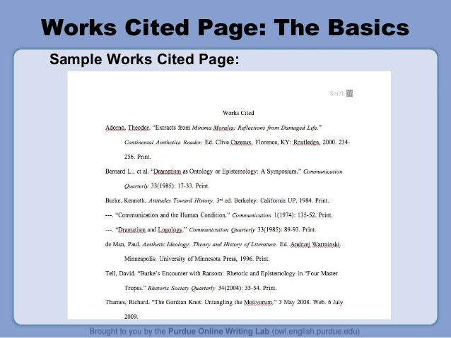 works cited page the basics sample works cited page