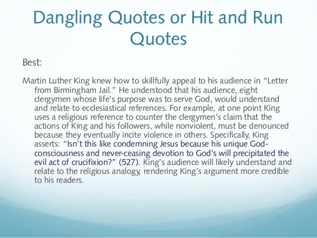 Quotes From Mlk Letter From Birmingham Jail: MLA1103Fall2014