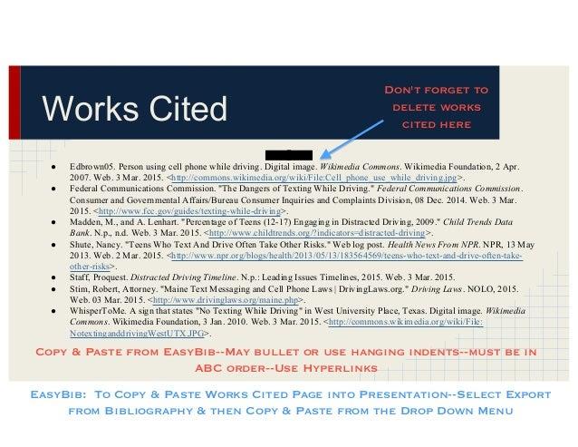 mla presentation with citations