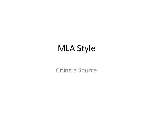 MLA StyleCiting a Source