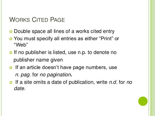 mla style works cited page