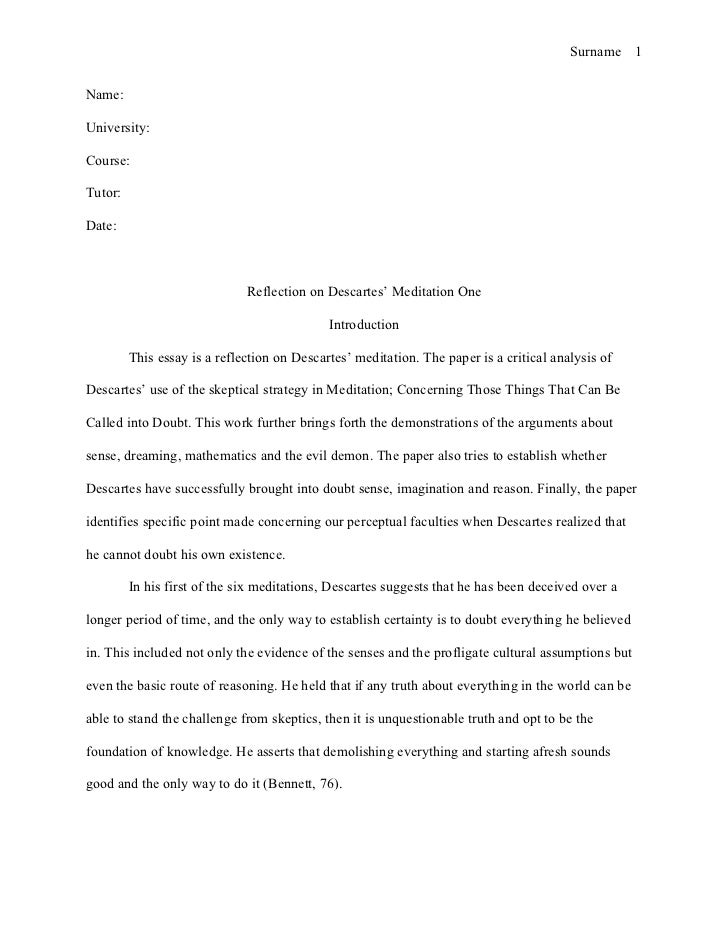 mla style essay reflection on descartes sur 1 university course tutor date reflection on descartes meditation