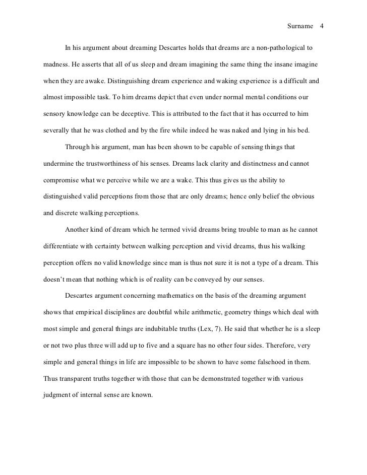 Mla style essay reflection on descartes