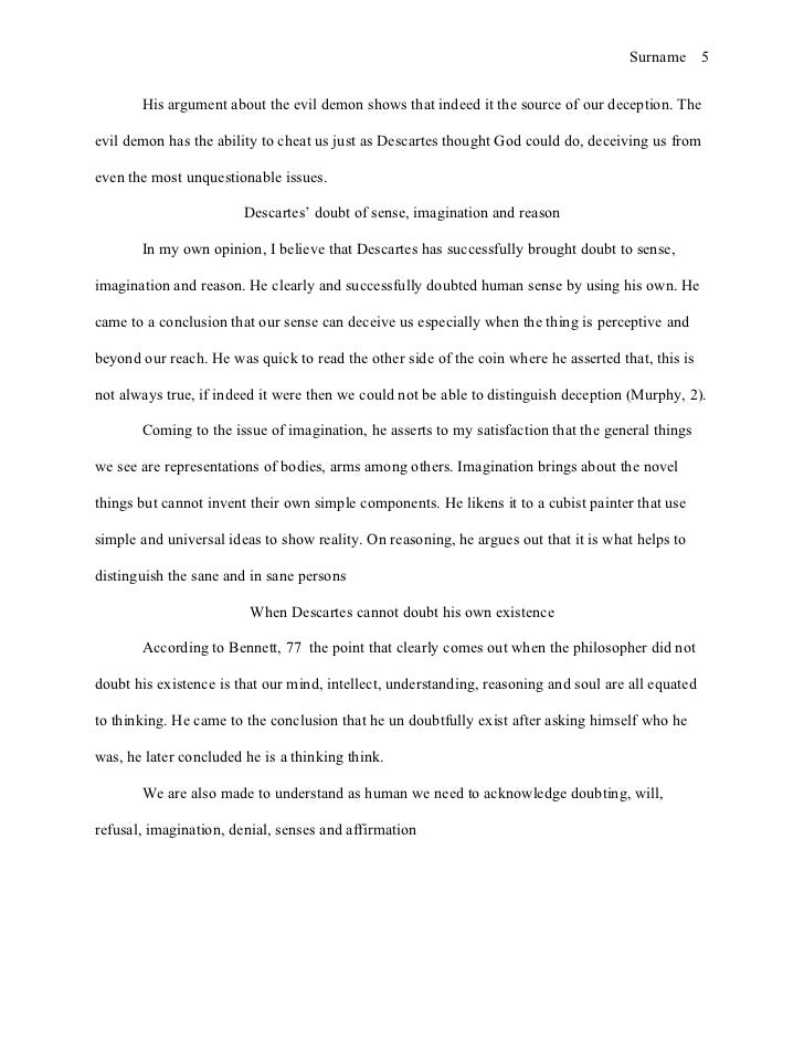 descartes evil demon argument essay Expanded on the basis of students' reactions to a particular paper  explain  descartes' third wave of doubt (the 'evil demon' argument) 9.
