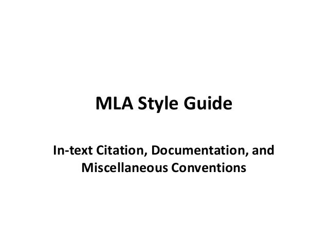 MLA style guide seminar