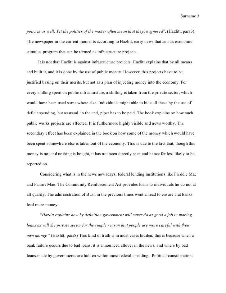 mla style term paper economics in one lesson hazlitt henry