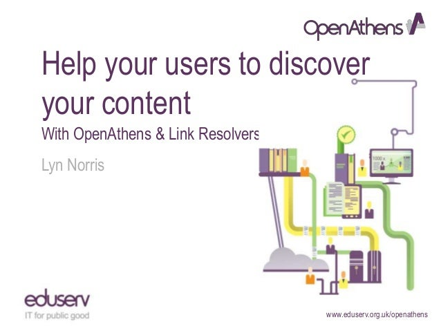 www.eduserv.org.uk/openathensHelp your users to discoveryour contentWith OpenAthens & Link ResolversLyn Norris