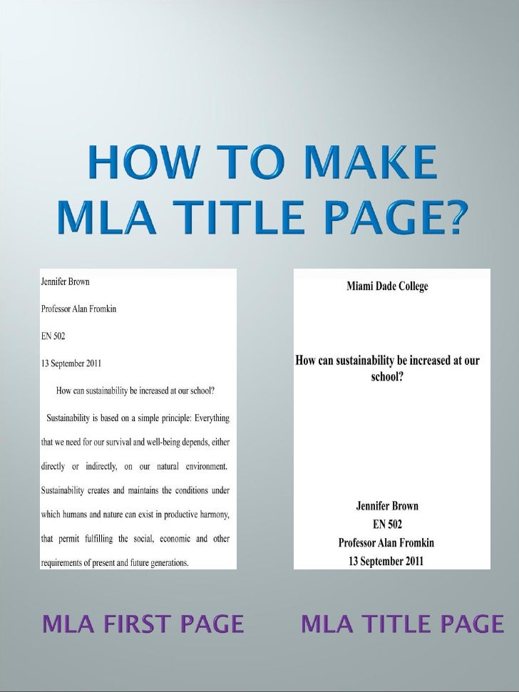Cover page for mla paper