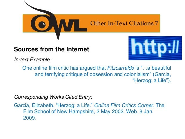 mla works cited other in text citations 6 24 sources from the internet