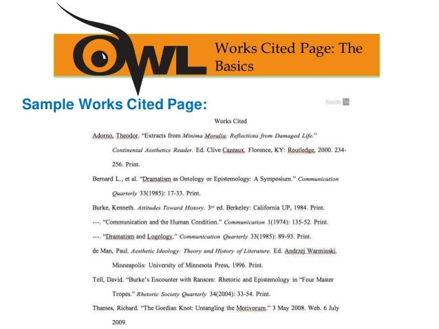 sample works cited page works cited page the basics - Work Cited Essay Example